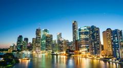 4k hyperlapse video of Brisbane CBD at night Stock Footage