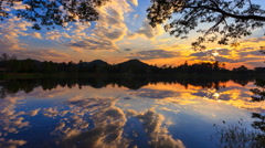Beautiful Sunset And Reflection 4K Time Lapse (tilt up) Stock Footage