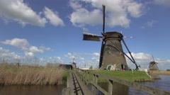 Windmills, Kinderdijk, UNESCO World Heritage Site, Netherlands, Europe Stock Footage