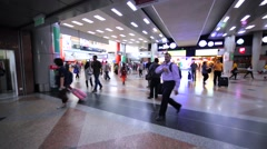 Interior of Kuala Lumpur Sentral railway station with a lot of passengers Stock Footage