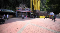Entrance of the staircase which consists of 272 steps. Batu Caves, Malaysia Stock Footage
