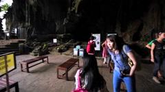 Interior of entrance of Dark Cave in Batu Caves, Kuala Lumpur, Malaysia Stock Footage