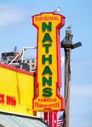 The original Nathan's Famous hot dogs stand in Coney Island Stock Photos