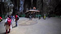 Inner Temple in Batu Caves and many tourists around it. Malaysia, Kuala Lumpur Stock Footage