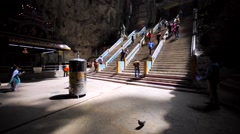 View of high staircase in Batu Cave with tourists on it. Malaysia, Kuala Lumpur Stock Footage