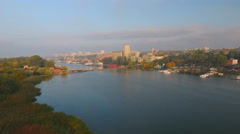 Aerial view above the Rostov-on-Don dockyard Stock Footage
