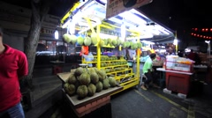 Durians that are sold at Jalan Alor in Kuala Lumpur, Malaysia Stock Footage