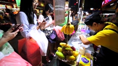 Process of making delicious ice-cream at the street of Kuala Lumpur, Malaysia Stock Footage