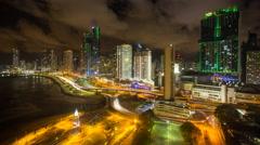 City skyline illuminated at night, Panama City, Panama, Central America Stock Footage