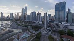 City skyline, Panama City, Panama, Central America - day to night time lapse Stock Footage