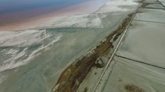 Aerial view of oversalted lakes near Evpatoria, Crimea Stock Footage