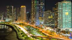 City skyline illuminated at dusk, Panama City, Panama, Central America Stock Footage