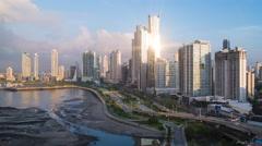 City skyline at sunrise, Panama City, Panama, Central America Stock Footage