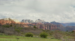Wide shot of scenic view of clouds over canyon / Zion National Park, Utah, Stock Footage