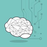 Human brain and circuit icon image Stock Illustration