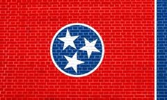 Flag of Tennessee on brick wall texture background Stock Illustration