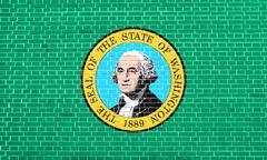 Flag of Washington state on brick wall texture Stock Illustration