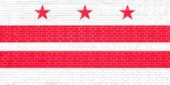 Flag of Washington, D.C. on brick wall texture Stock Illustration