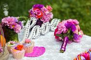 Wedding decoration, love wooden sign Stock Photos