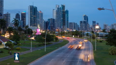 Traffic on the main highway at dusk, Panama City, Panama, Central America Stock Footage