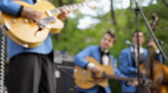 Jazz band playing musical instruments. Blurred musicians singing playing jazz Stock Footage