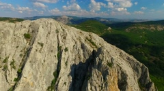 Aerial view of mountains and forests of Sudak area of Crimea, Russia Stock Footage