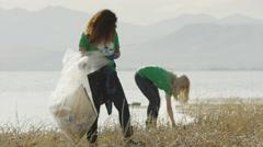 Wide panning shot of volunteers collecting garbage at lake / Vineyard, Utah, Stock Footage