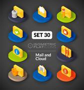 Isometric flat icons set Stock Illustration