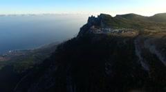 Aerial view of Ai-Petri Mountains near Yalta, Crimea Stock Footage