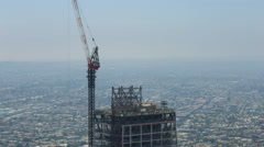 Timelapse of Construction Crane at New High-Rise in Downtown LA -Zoom In- Stock Footage