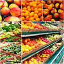 Different grocery shelves full of fruit and vegetables, collage of colorized Stock Photos