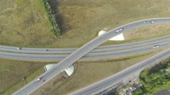 Aerial shot of highway junction with cars Stock Footage