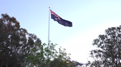 Wide Shot Of Australian Flag Flying in The Wind Stock Footage