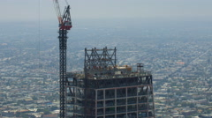 Timelapse of Construction Crane at New High-Rise in Downtown LA -Long Shot- Stock Footage
