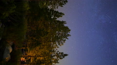 MoCo Pan Astro Timelapse of Moonrise over Forest Campground -Vertical- Stock Footage