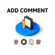 Add comment icon in different style Stock Illustration