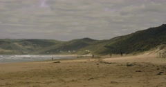 Slow pan of a beach on the Great Ocean Road. Stock Footage
