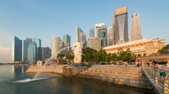The Merlion Statue with the City Skyline in the background, Marina Bay, Stock Footage