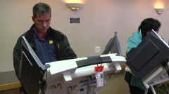 Ohio voters cast ballots in the presidential election. Stock Footage