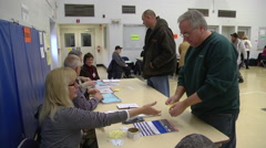 Ohio voters register  to cast ballots in the presidential election. Stock Footage