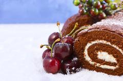Christmas Yule Log Cake. Stock Photos