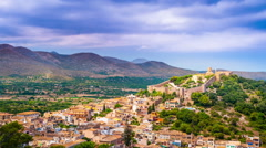 Capdepera castle on green hill in Mallorca island, Spain Stock Footage