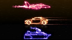 Various color transportation car ship jet plane made with light beam wireframes Stock Footage