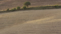 Wide panning shot of rural rolling landscape / Pienza, Tuscany, Italy Stock Footage