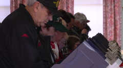 A row of Ohio voters casting ballots in the presidential election Stock Footage