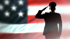 4K Military Officer Silhouette Soldier Salute, American USA Flag, Uniform Stock Footage