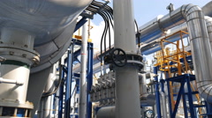 Process area of oil and refinery plant Stock Footage