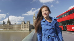 Young Urban Female Professional On Westminster Bridge London Stock Footage