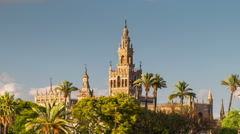 Giralda Spire Bell Tower of Seville Cathedral Stock Footage