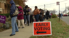 Ohio voters in line for early voting in the presidential election. Stock Footage